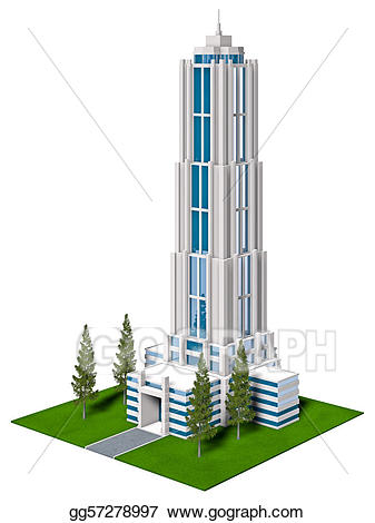 Building clipart corporate building. Stock illustrations gg