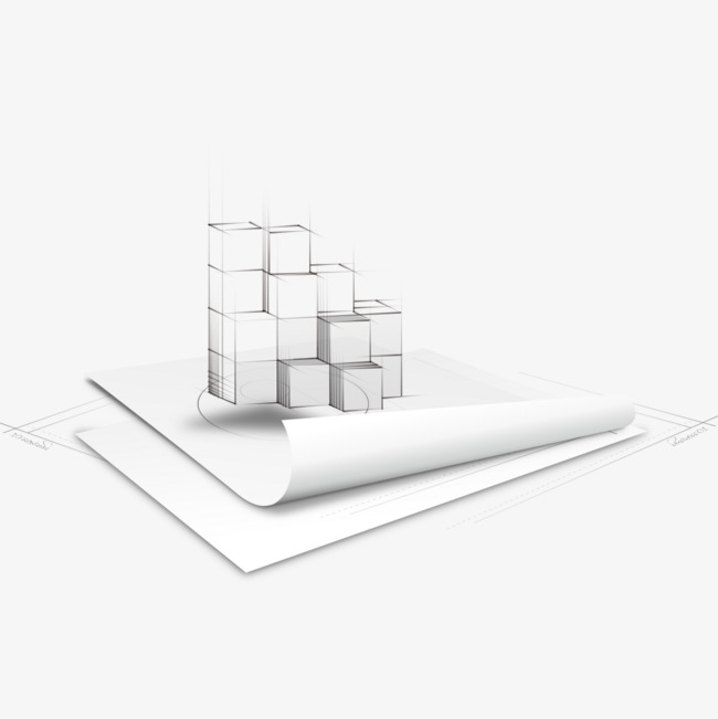 Painted architectural drawings building. Buildings clipart cube