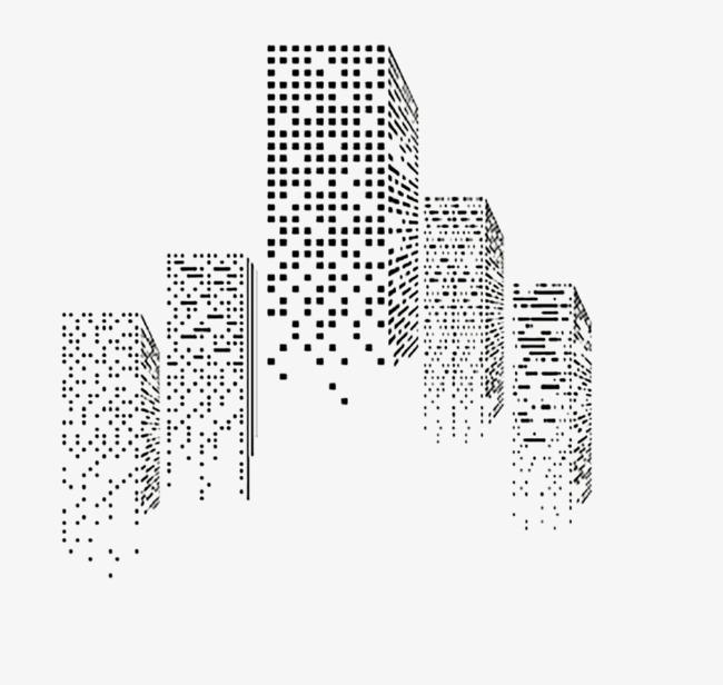 Buildings clipart cube. Geometric composition building black
