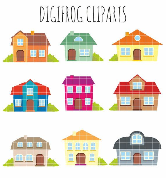 Buildings clipart cute. Colourful houses cartoon by