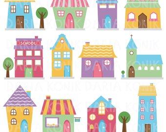 Etsy houses clip art. Buildings clipart cute