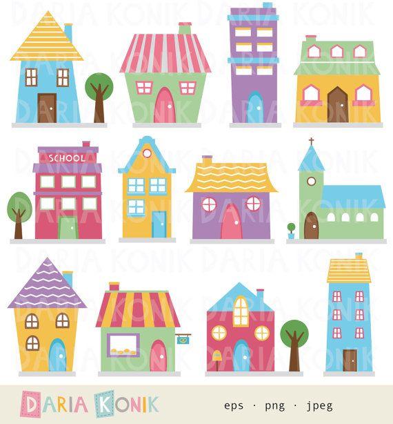 Houses clip art set. Buildings clipart cute