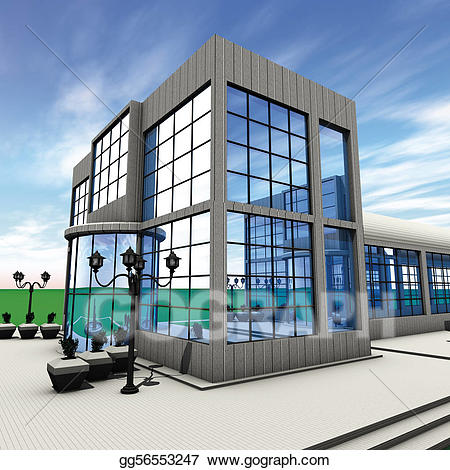 Buildings clipart headquarters. Stock illustration company side
