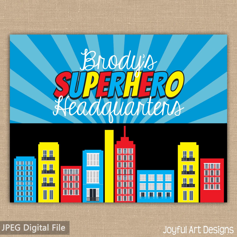 Superhero printable birthday party. Buildings clipart headquarters