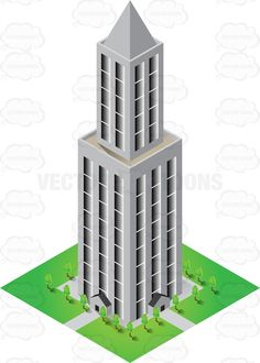 Building clipart high rise building. Modern designed with greeneries