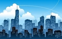 Free blue city with. Building clipart high rise building