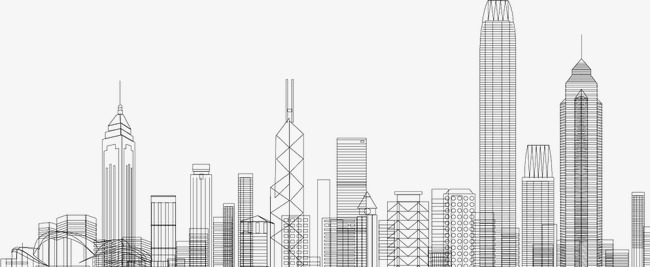 Hand painted line png. Buildings clipart modern building
