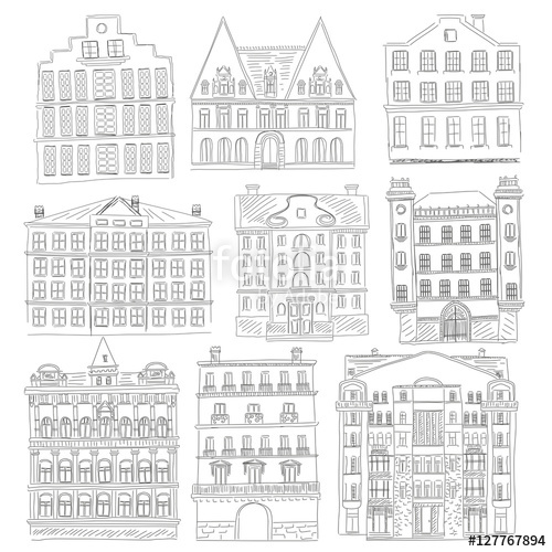Historic line style outline. Buildings clipart old building