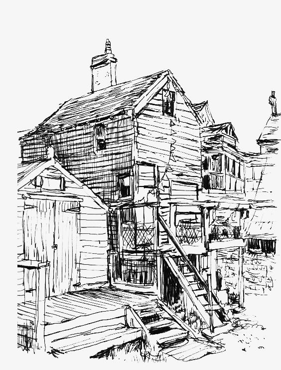 Retro slum png image. Buildings clipart old building