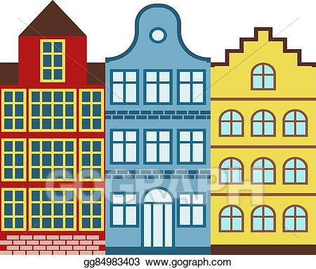 Buildings clipart old building. Eps illustration traditional amsterdam