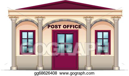 Vector art a drawing. Buildings clipart post office