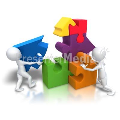 Funny team building . Teamwork clipart puzzle piece