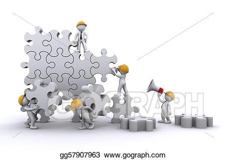 Buildings clipart puzzle. Business team work building