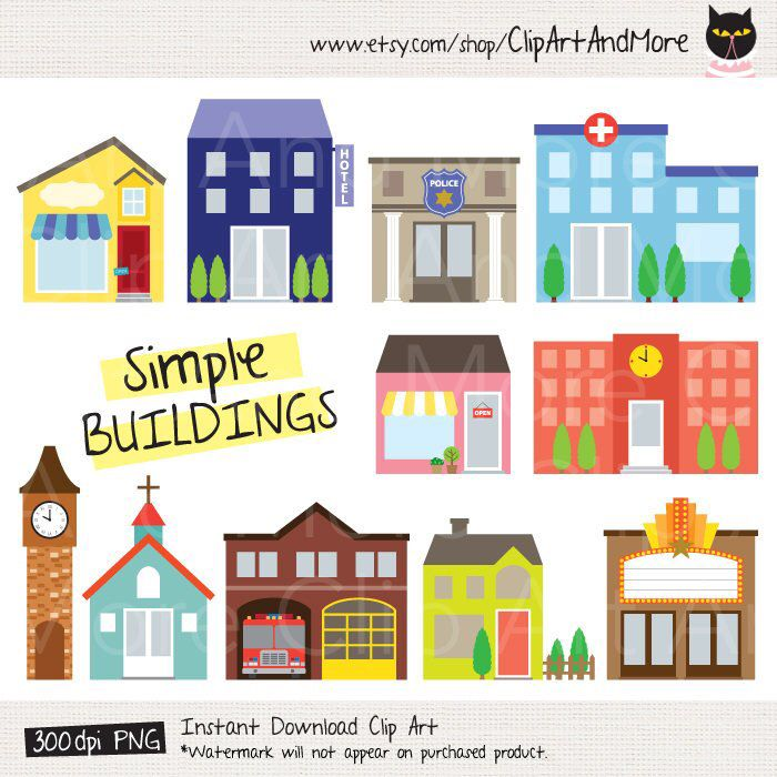 Building fire station police. Buildings clipart simple