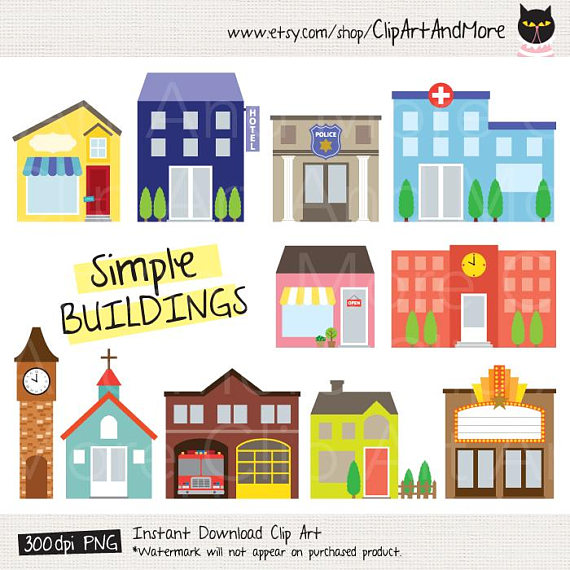 Buildings clipart simple. Building fire station police