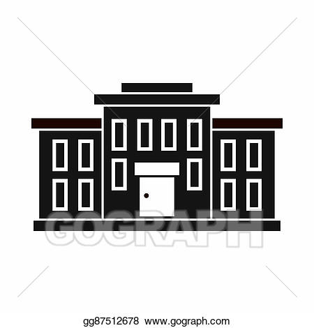 Buildings clipart simple. School building icon style