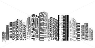 Skyscraper png black and. Buildings clipart building design