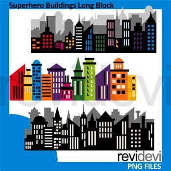 Superhero buildings long block. Superheroes clipart building