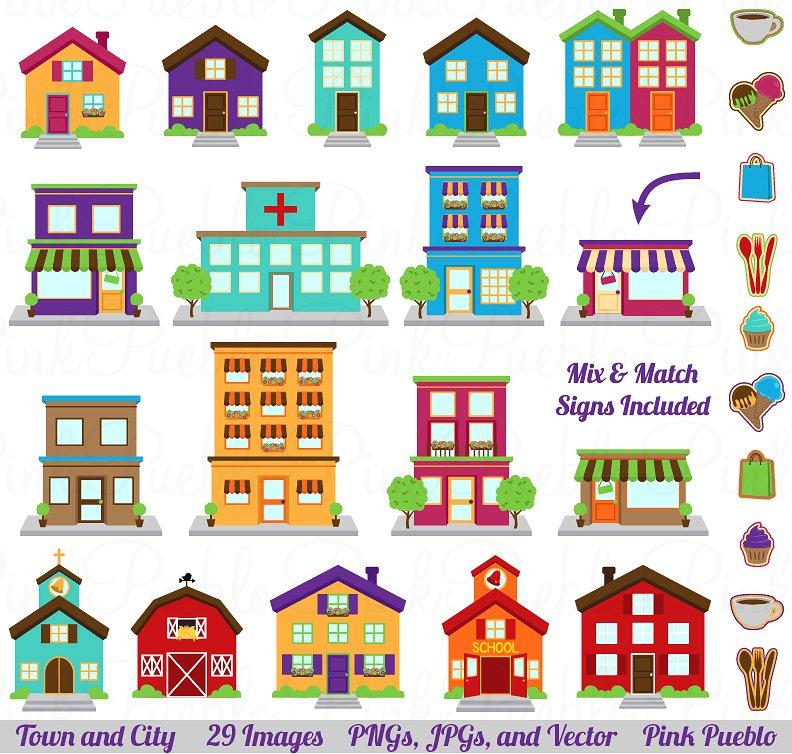 Building clipart town. City village vector illustrations