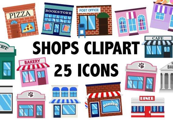 Buildings clipart town. Shops building icons cityscape