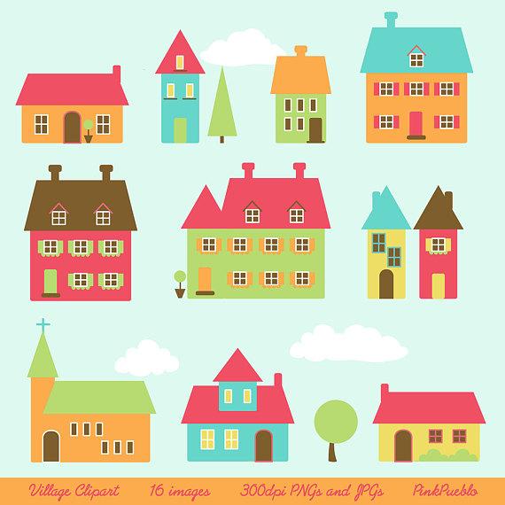 Village clip art houses. Building clipart town