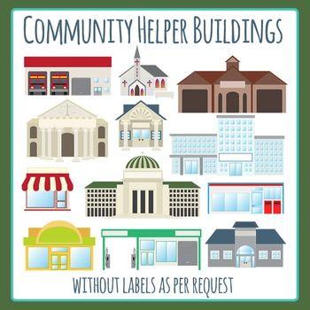 Community helper buildings without. Building clipart town