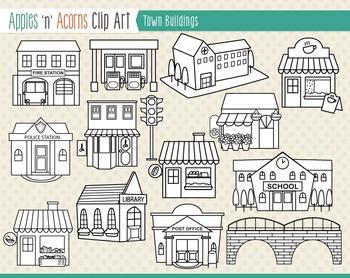 Building clipart town. Buildings clip art color