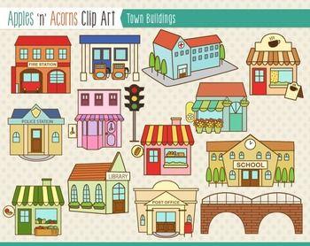 Buildings clip art color. Building clipart town