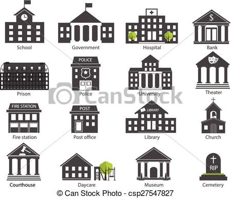 collection of black. Buildings clipart university