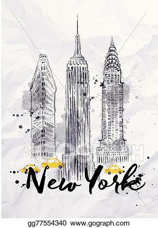 Buildings clipart watercolor. Vector new york illustration