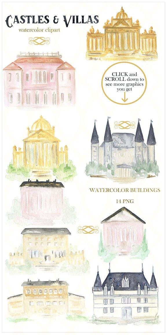 Buildings clipart watercolor. Castles villas illustrations creative