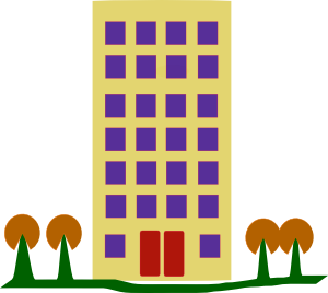 School building free panda. Apartment clipart flat