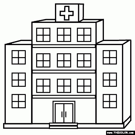 Hospital building letters pencil. Buildings clipart black and white