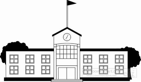 Buildings clipart black and white. School building letters throughout
