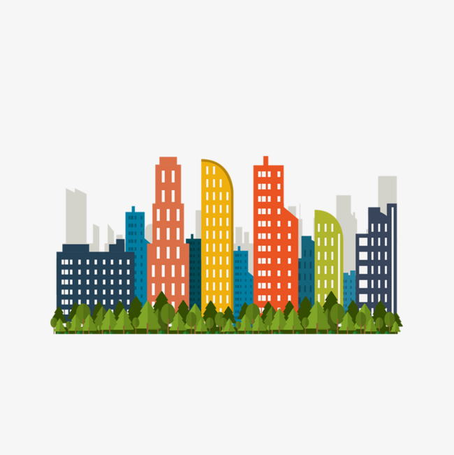 Buildings clipart building design. Color cartoon city decoration