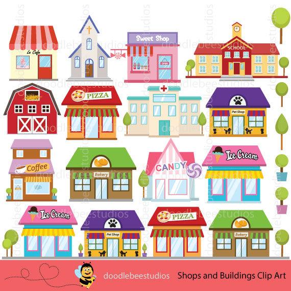 Building clipart town. Shops buildings shop clip