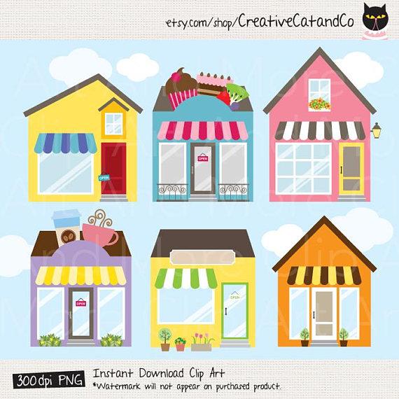 Shop store building logo. Buildings clipart clip art
