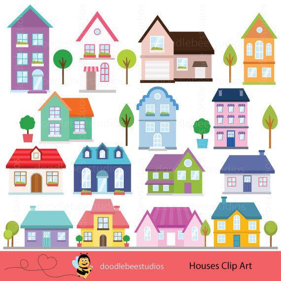 Houses cottage. Buildings clipart clip art