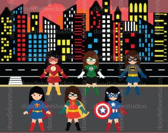 Buildings clipart comic book. Superhero text clip girl