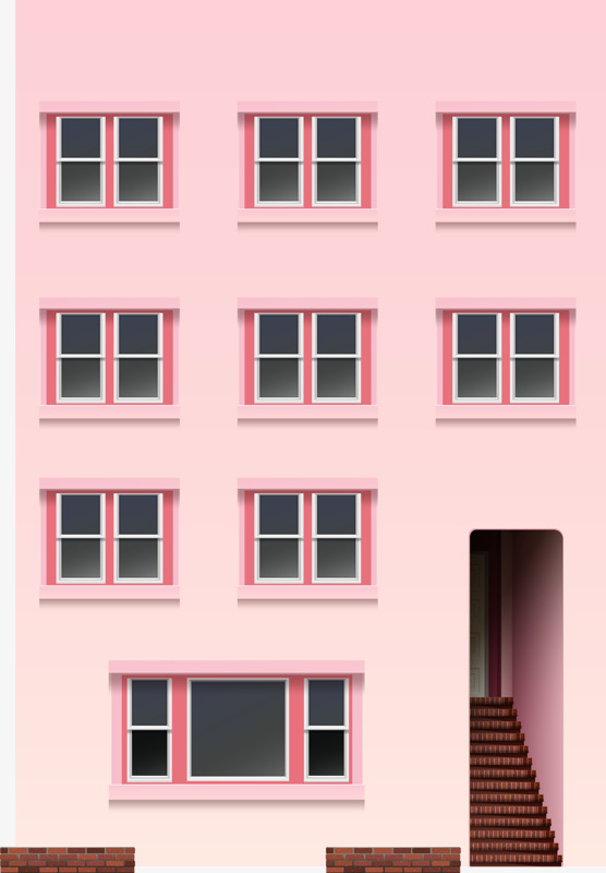 Buildings clipart condominium. Pink building hand painted