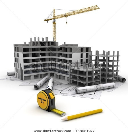 Building under letters in. Buildings clipart construction