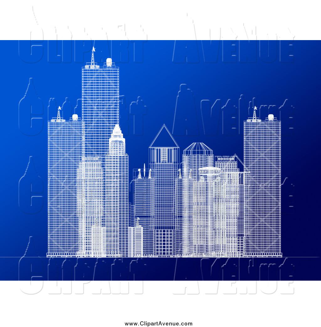Avenue of a blueprint. Buildings clipart corporate building