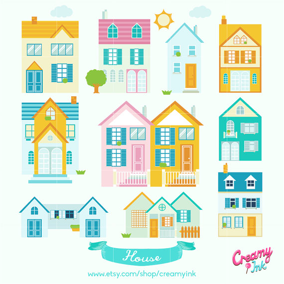 Little neighborhood digital vector. Buildings clipart cute