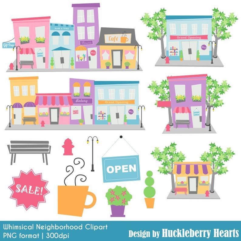 Digital neighborhood houses . Buildings clipart cute