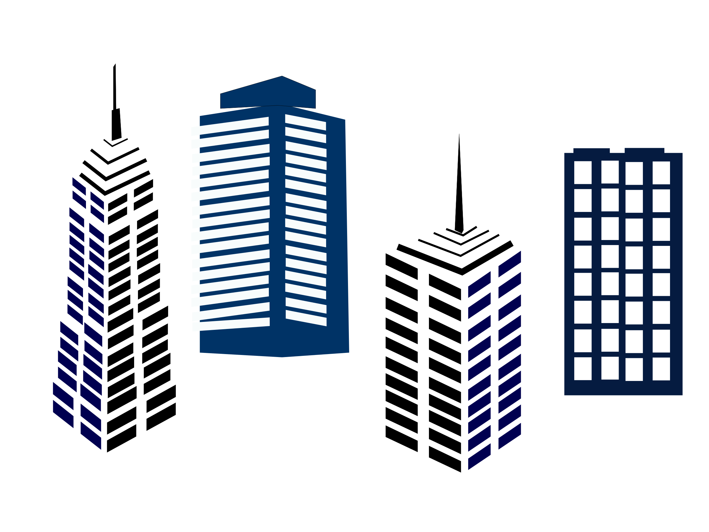 Types of commercial buildings. City clipart architecture