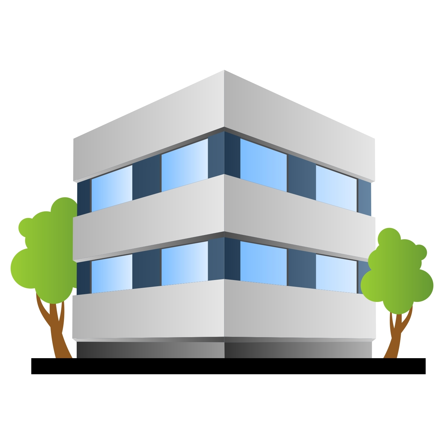 Buildings clipart office building. Small set of isolated