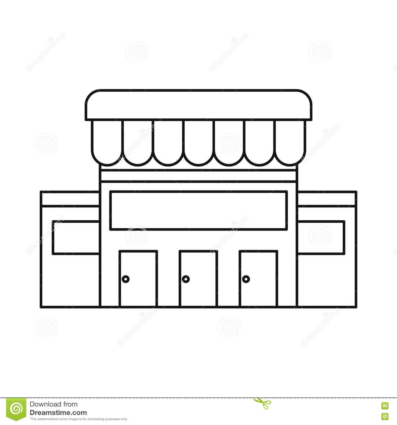 Buildings clipart outline. Supermarket building black and
