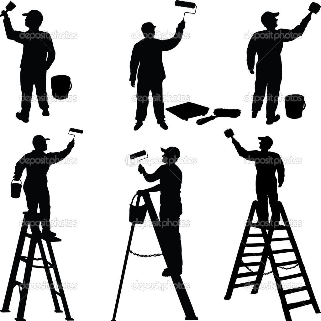 Buildings clipart painter. House silhouette clip art