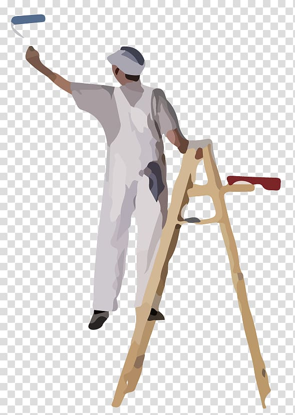 House and decorator painting. Painter clipart building