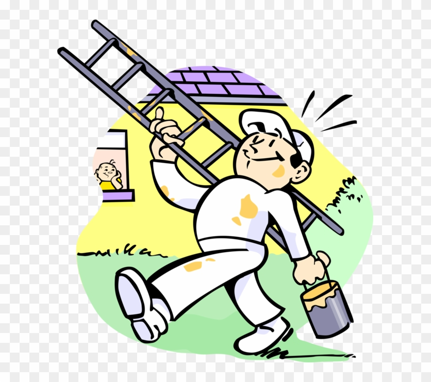 Painter clipart building. House with ladder and